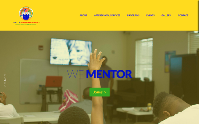 This is a screenshot of the RivieraYouth empowerment center wbsite